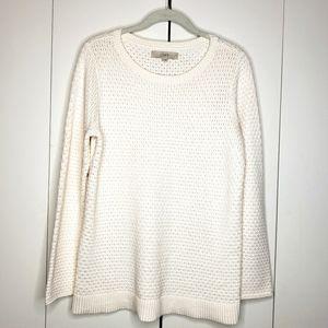 LOFT Ivory Pullover Crochet Sweater